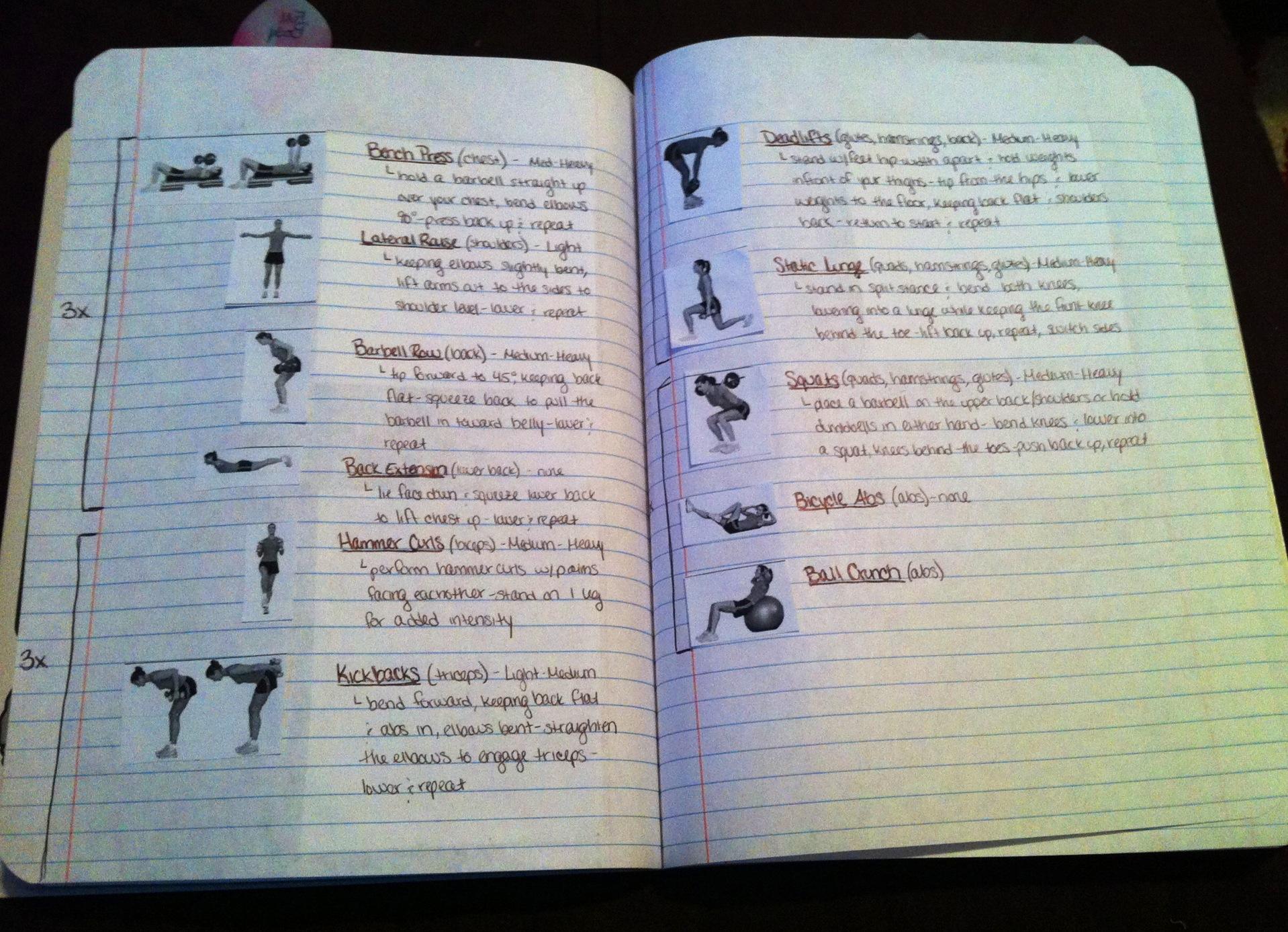 workout notebook - Ex