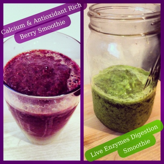 Calcium & Antioxidant Rich Berry Smoothie + Live Enzyme Digestion Smoothie via Fitful Focus