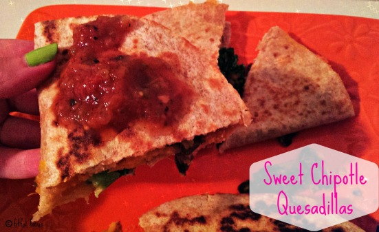 Sweet Chipotle Quesadillas via Fitful Focus
