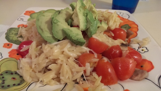 "Orzo with Citrus ""Cooked"" Veggies via Fitful Focus"