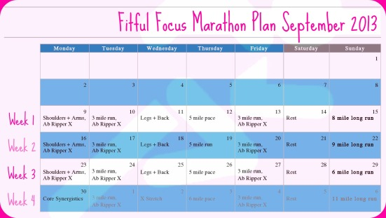 Marathon Training Plan Weeks 1-4 via Fitful Focus