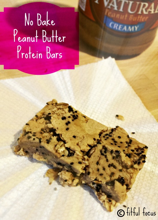 No Bake Peanut Butter Protein Bars via Fitful Focus