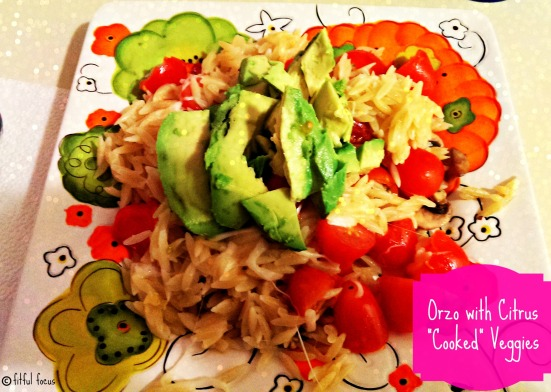 Orzo with Citrus Cooked Veggies via Fitful Focus