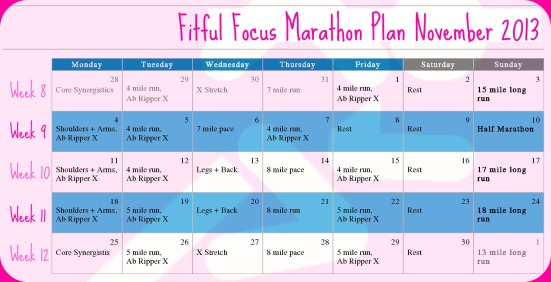 Marathon Training Plan Weeks 8-12 via Fitful Focus